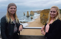 Two students on a trip to 12 Apostles.