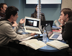Photograph of students collaborating in a classroom