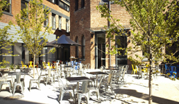 An outdoor courtyard with chairs, tables and market umbrellas, flanks the cafe.