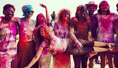 Group of students celebrating the colour festival