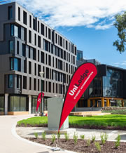 Outside of on-campus accommodation at Bundoora.