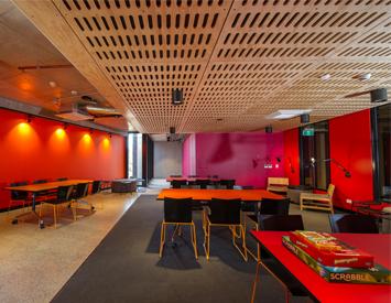 Shared lounge of on-campus accommodation at Bundoora.