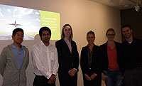 Hayley O'Callaghan and Alexis Denby from GE visit RMIT MBA students.