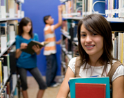 Female student in a library. Image  iStockphoto
