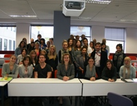 Federal MP Kelly O'Dwyer with second year Public Relations students