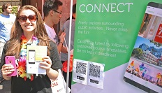 Student promoting the app during O-week