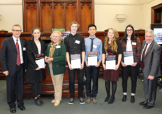 John Storey Junior Memorial Scholarship recipients for Semester 2 2015  (L-R) Ian George (Chair, JSJMS Committee) , Lauren Minicozzi, Judy Cope-Williams (Storey family), Evan Bryce, Linh Nguyen, Monique Banks, Holly Deans, Martin Bean VC