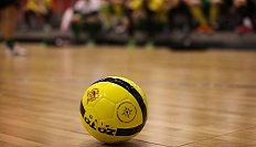 Futsal ball on court