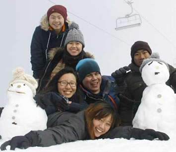 Group of students enjoying the snow at Mt Buller.