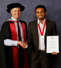 Rohan Pereira with Professor Ian Palmer, Pro Vice-Chancellor Business.